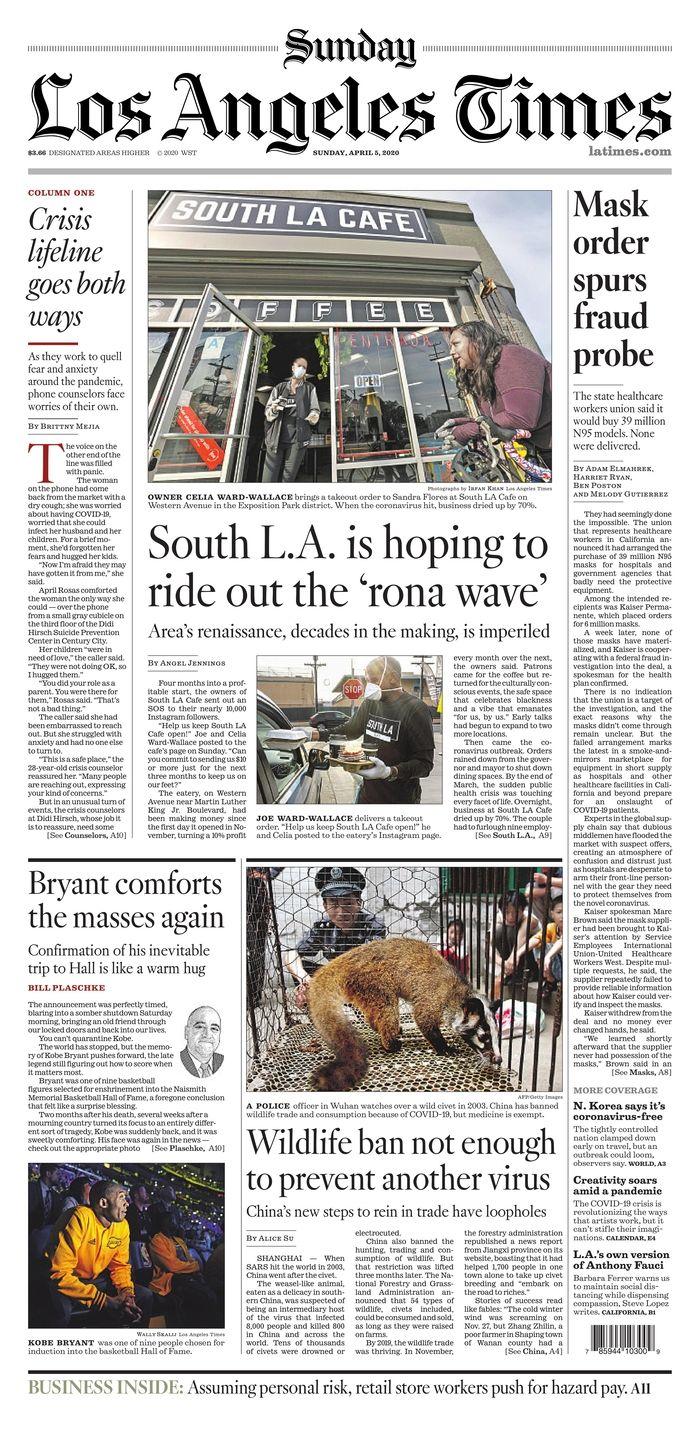 Los Angeles Times 4 5 20 In 2020 Los Angeles Newseum Angel