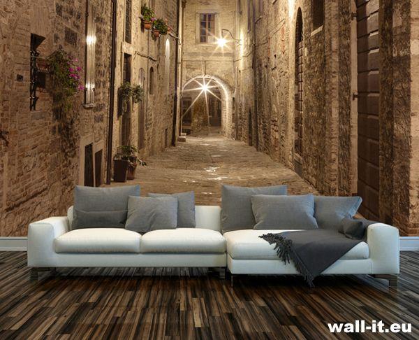 Fototapeta 3d w pokoju. Uliczka nocą rozświetlona latarniami. http://www.wall-it.eu/product/photowallpapers/starauliczka/fototapety-3d-nocne-uliczki.jpg  #fototapeta #fototapety #mural #murals #wallit #street #italy