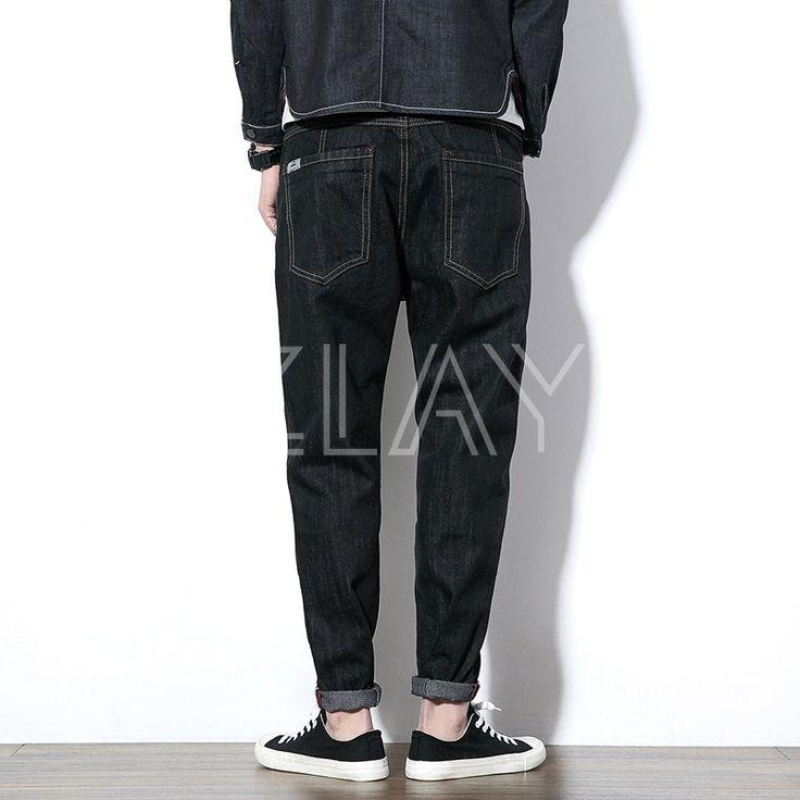Mens Black Regular Fit Tapered Harem Jeans