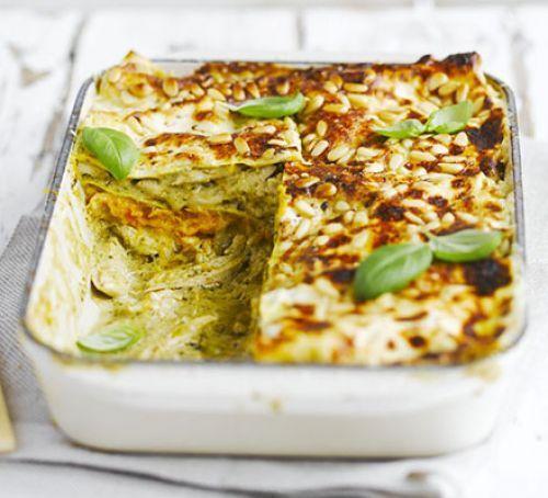 Chicken, squash & pesto lasagne recipe