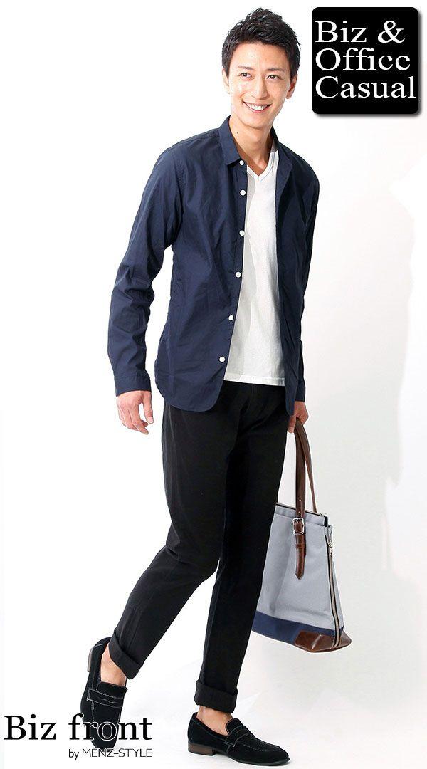 システムエンジニア・プログラマー・Webデザイナー・Webディレクターの服装コーディネート ネイビーシャツジャケット×ホワイトカットソー×スキニー  ブラックパンツ biz16-17aw_0227