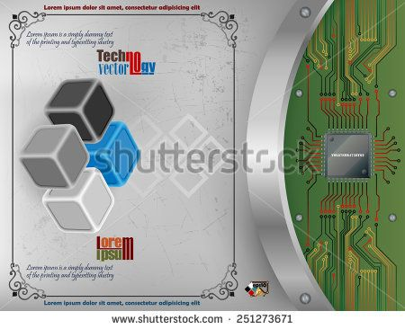 Abstract technology background; Tree dimensions cubes on scratched metallic background and processor chip connected to circuit board.   - stock vector
