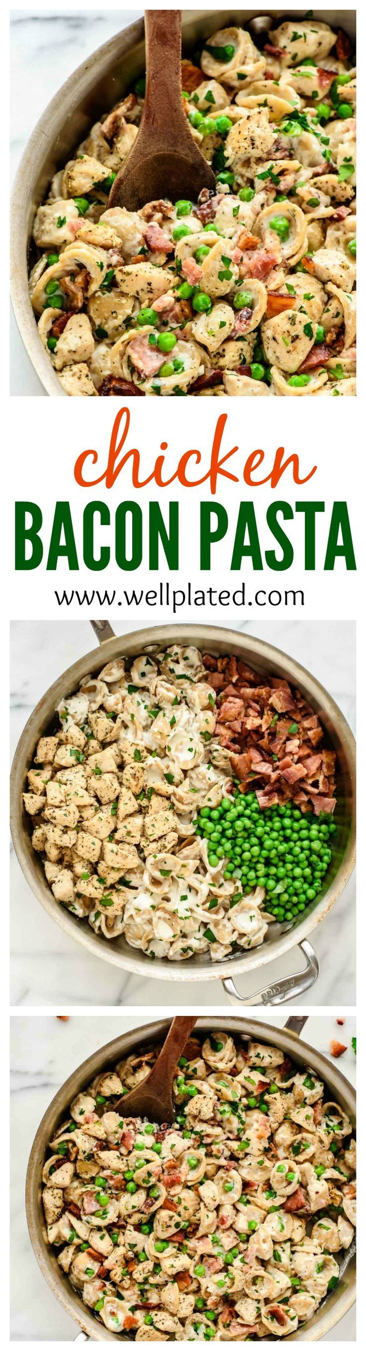 Chicken Bacon Pasta with Peas. Creamy, cheesy, and comforting! Loaded with Italian chicken, bacon, and homemade alfredo sauce. Ready in only 30 minutes and totally irresistible! | www.wellplated.com @wellplated