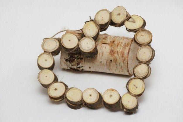 Tronchetti di legno a  cuore per Natale
