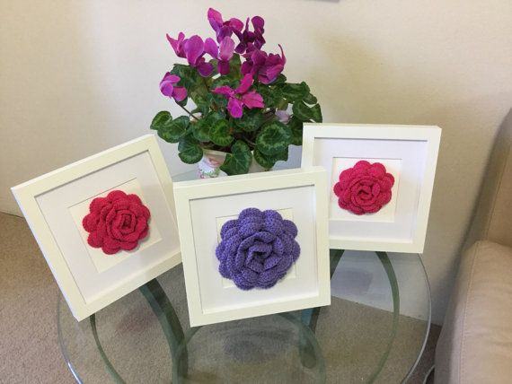 Original wall art crochet flower art framed rose by JilaCrochet