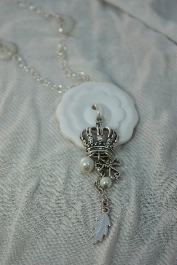 White flower button pendant necklace with by notyourmamasbuttons, $15.00