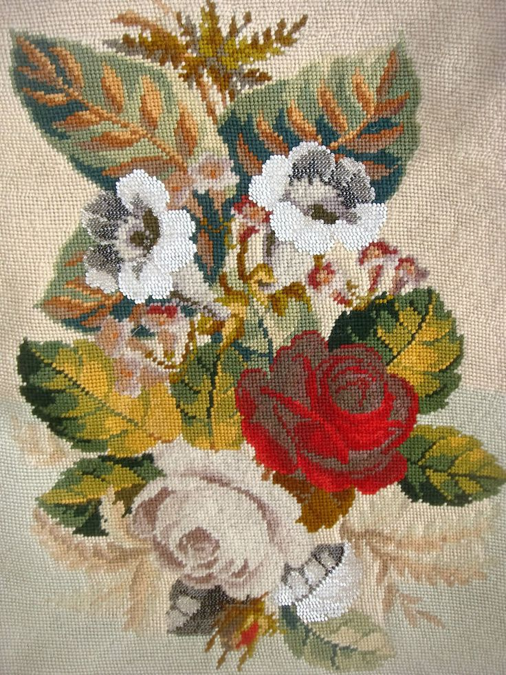 WOOL WORK AND BEAD WORK OF FLOWERS FOR CUSHION OR FRAMING