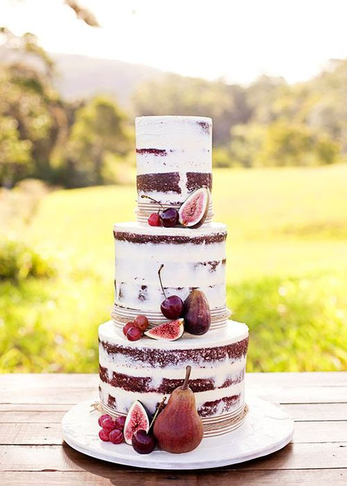 Fall Naked Wedding Cake Idea with Fruit | Brides.com