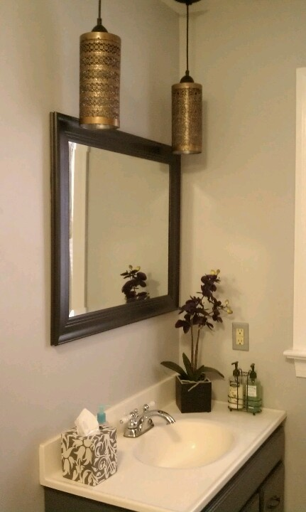 Upcycled Vanity Light : DIY UPcycled bathroom vanity area makeover: hanging lights made from tin candle holders & a ...