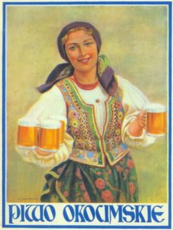 """Piwo Okocimskie (Okocim Beer), from Poland. - This ad was produced during the interwar period (c.1920s-1930s), between WW I and I. - Board """"Art-Beer,Biere,Cerveza and Women...."""" -"""