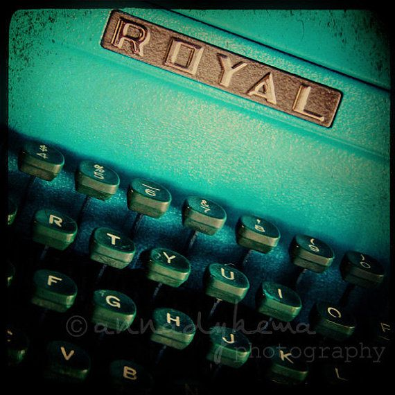 teal home office decor retro typewriter green ultramarine