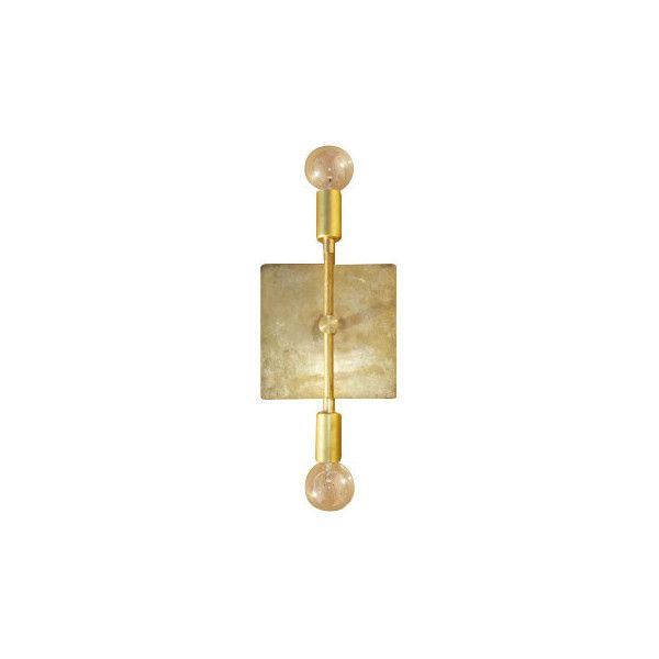 Mid-Century Modern Raw Brass 2 Light Sconce ($159) found on Polyvore featuring home, lighting, wall lights, brass wall lights, mid century lamp, mid century modern lamp, mid century lighting and cord lights