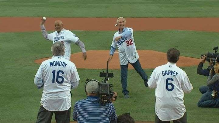 Sandy Koufax, Don Newcombe, Rick Monday, and Steve Garvey all showed up for Game 7's ceremonial first pitch   -  November 1, 2017