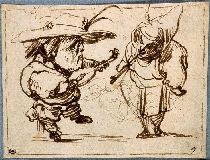 Jacques Callot | Deux figures grotesques faisant de la musique | Images d'Art                                                                                                                                                     Plus