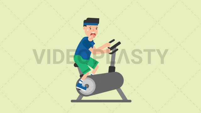 A man wearing a blue t-shirt green shorts and a blue headband is sweating like crazy on an exercise bike Two version are included: normal (with a start animation) and loopable. The normal version can be extended with the loopable version Clip Length:10 seconds Loopable: Yes Alpha Channel: Yes Resolution:FullHD Format: Quicktime MOV