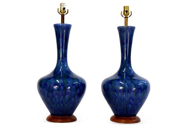"""Blue Lamps, Pair- Midcentury lamps, pair. Blue and green ceramic glaze. Wood bases. Fully functioning original wiring. Height to harp base, 26""""H. No harp included. Standard socket incandescent bulbs up to 60W. As described by Revision Home- $999 was $1800"""