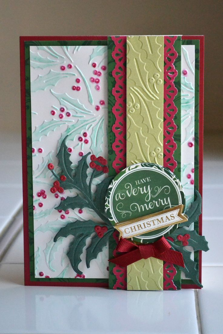 Scrapbook ideas christmas card - Embossing Folder Christmas Card Design With Back Panel Colored With Ink Or Markers And A Solid