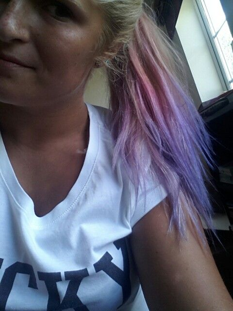 Blonde dip dyed pink then purple