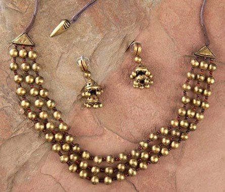 Handmade terracotta jewelry painted in gold https://www.facebook.com/KavisTerracottajewellery