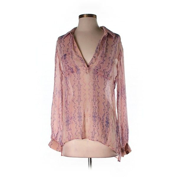 Pre-owned Lavender Brown Long Sleeve Silk Top Size 0: Purple Women's... ($44) ❤ liked on Polyvore featuring tops, purple, purple silk top, purple long sleeve top, long sleeve silk top, silk top and lavender brown