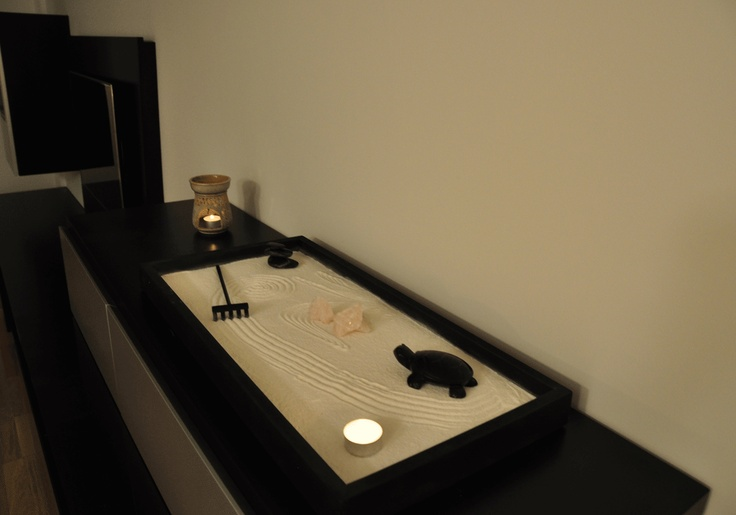 jardin zen mediano con cuarzo y tortuga de obsidiana sobre mueble de saln dimensiones cm x cm uac jardines zen decoracin interior pinterest