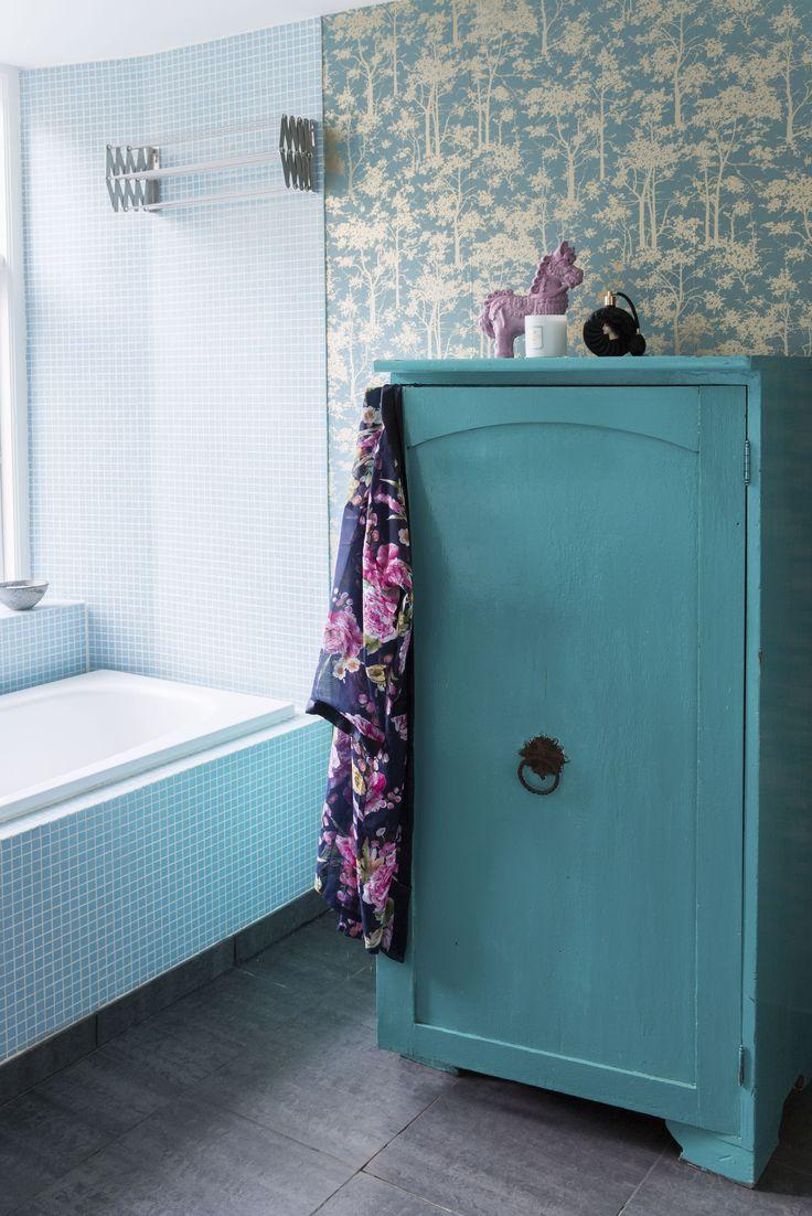 Azurblå mosaikfliser i 2x2 cm