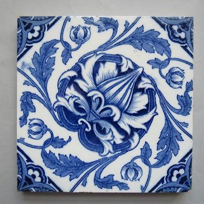 Wedgwood Ceramic Tile Blue & White Transfer Print Flower Design
