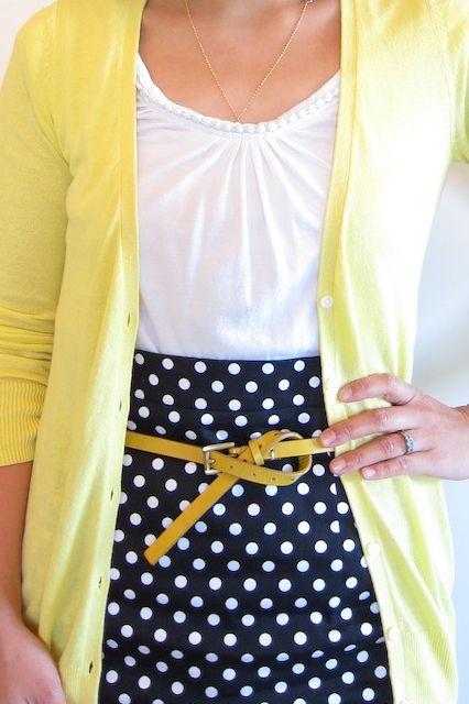 {navy, white, yellow, polka dots}