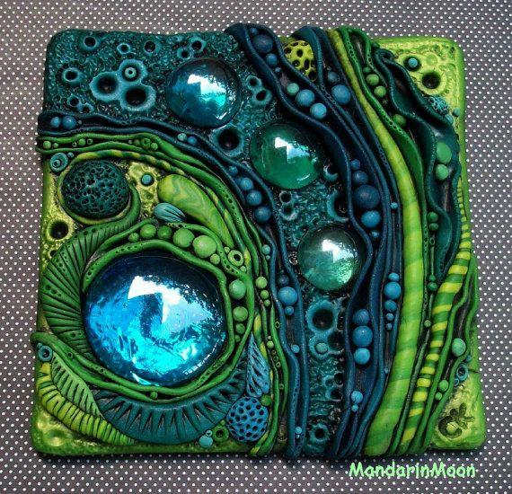 Neptunes Garden Mosaic Art Tile Polymer Clay and by MandarinMoon, $75.00