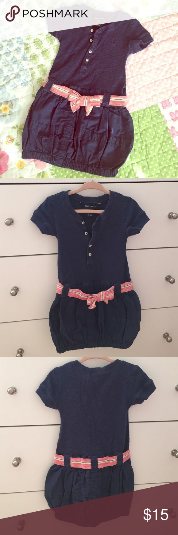 Ralph Lauren girls dress EUC. Blue navy knit top and elastic bottom woven balloon skirt with red& navy waist ribbon. Price is firm. 10% discount for bundle of 2 or more. Thanks! Ralph Lauren Dresses Casual