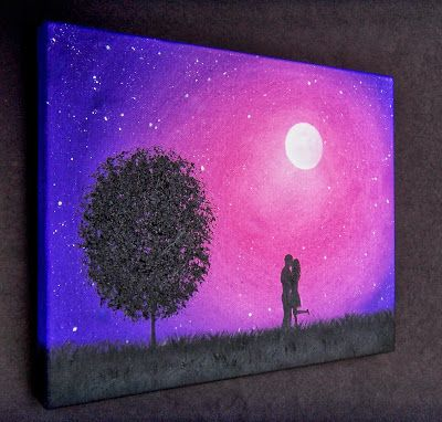 Bing Art by Rachel Bingaman: Silhouette Couple Painting, Starry Night Silhouette Art, 8 x 10, Original Oil Painting