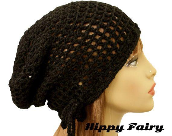 Black mesh Summer beanie mesh hatcrochet hair net by HippyFairy, £12.50