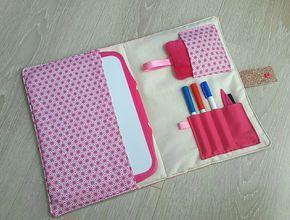 Pochette ardoise en tissu rose origami. : Ecole et loisirs par latelierdeloulou