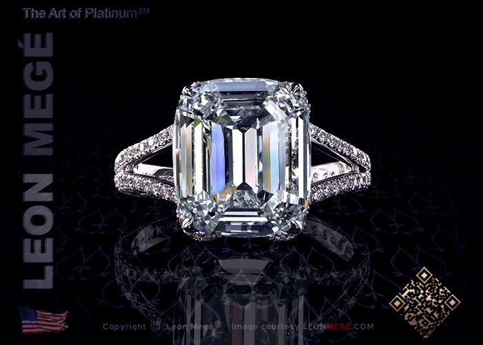 Gina custom cushion diamond engagement ring with split shank and micro pave by Leon Mege.