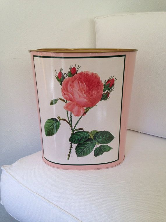 Mid-Century Pink Waste Basket or Trash Can with Pink Roses on Etsy, $28.00