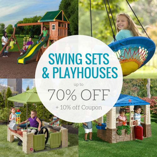 If you are looking for some great play sets for your backyard for spring and summer, check out the Swing Sets, Outdoor Playhouses, and More On Sale!