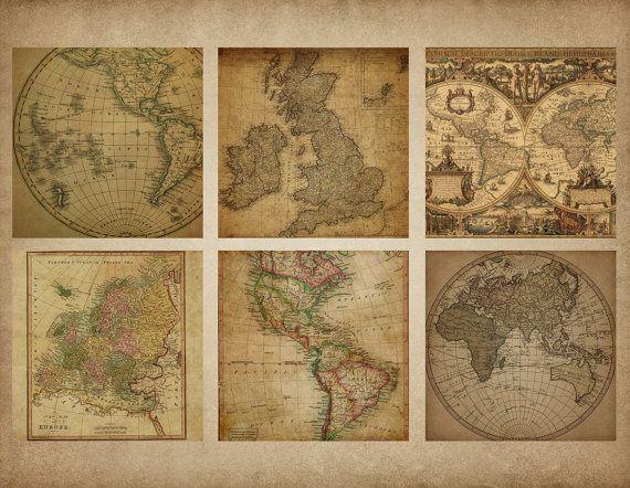 Antieke kaarten digitale papier Vintage door OriginsDigitalCurio