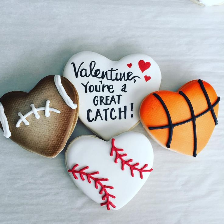 """138 Likes, 5 Comments - Sugah-Mama's Cookies (@sugahmamascookies) on Instagram: """" ⚾️  There's more than one way to """"catch"""" a Valentine! #valentinecookies #heartcookies…"""""""