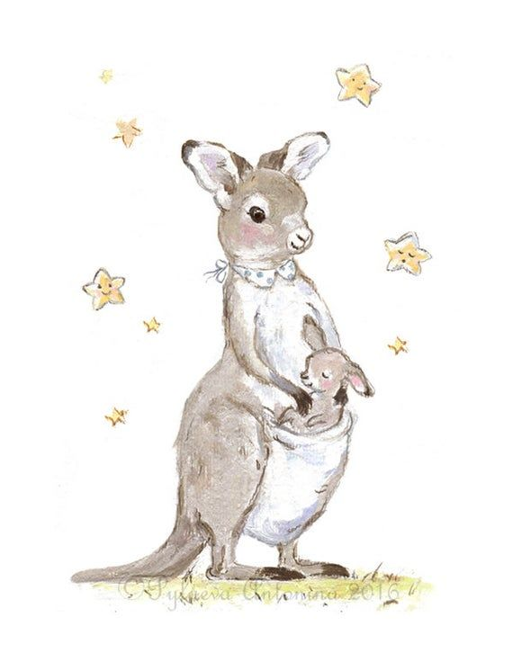 Kangaroo Nursery Print Kangaroo Mom And Baby Australian Etsy In 2021 Kangaroo Illustration Kangaroo Drawing Kangaroo Art