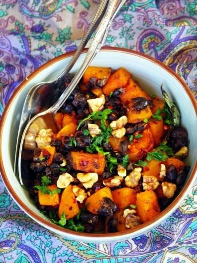 butternut squash with black beans and walnuts. will add kale or chard as well.