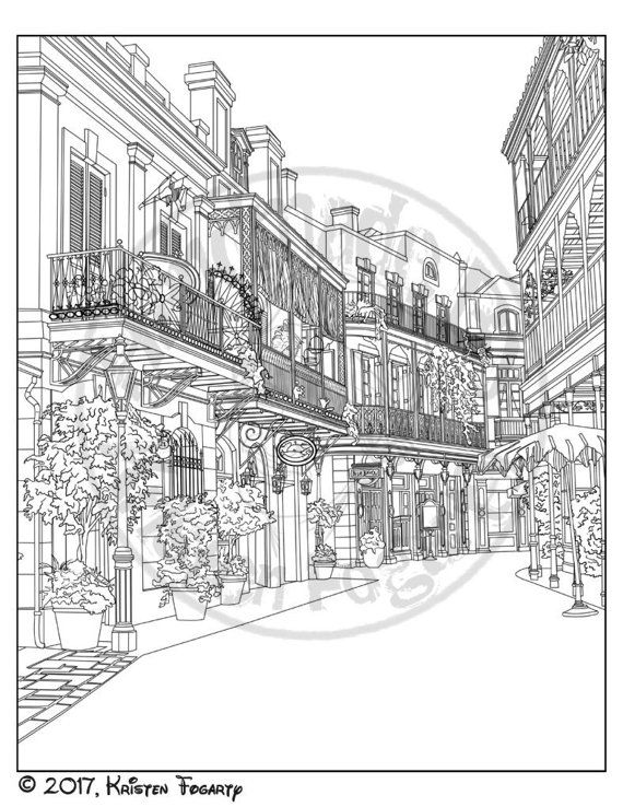Disneyland Digital Adult Coloring Page New Orleans Square 8x10