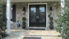 Doors: Elegant Black Wooden Front Entry Doors With Sidelights And Flowers Decorting Also Granite Exterior Wall Decor For Excellent Home Outdoor from Great Home on the Double Front Entry Doors