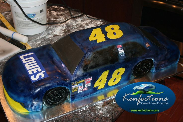 - This cake is exactly 3 feet long and 1 foot wide.  It was designed for the Chase for the Sprint Cup Championship kickoff at Lowe's Corporate Office this week.  The Trophy cake I did for Jimmie Johnson and Chad Knaus can also be found in my collection here