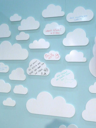 Cloud Party :: dry erase clouds. Susy u can do this with permanent ink and make a scrap book