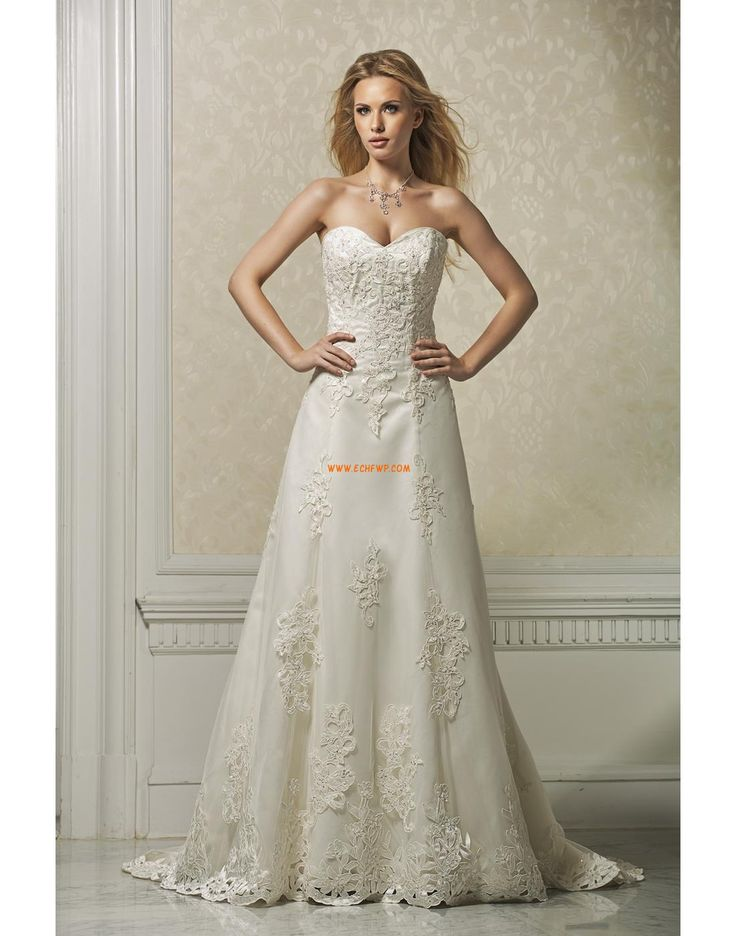 Áčkový střih Organza Nášivky Svatební šaty 2014