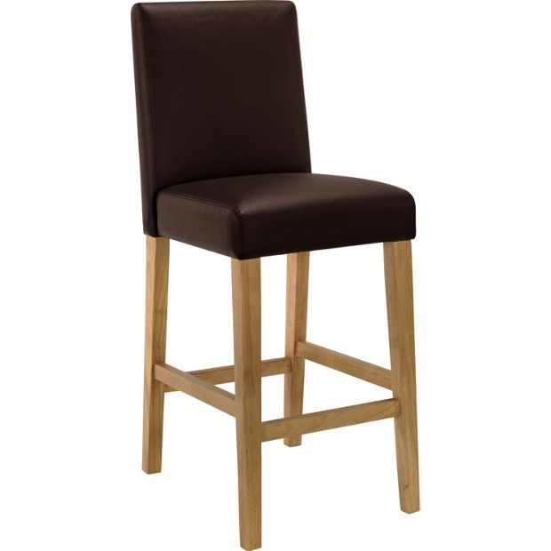 Black Kitchen Bar Stools Uk: Buy HOME Winslow Chocolate Oak Stain Leather Effect Bar