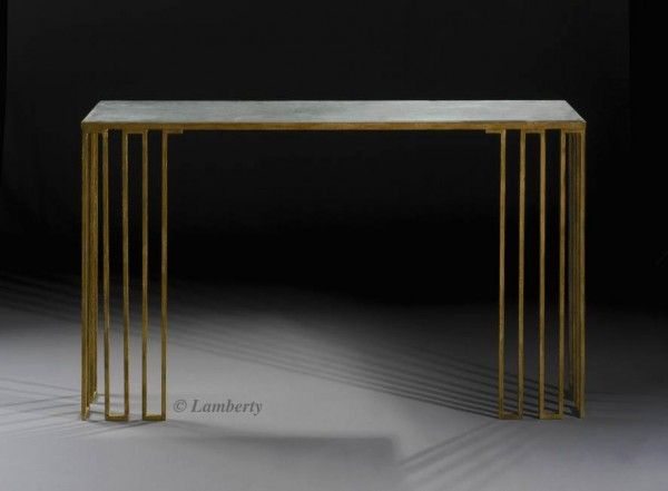 Lamberty Paris Console Table, Gilded Metal, Slate Top, 160x45x89