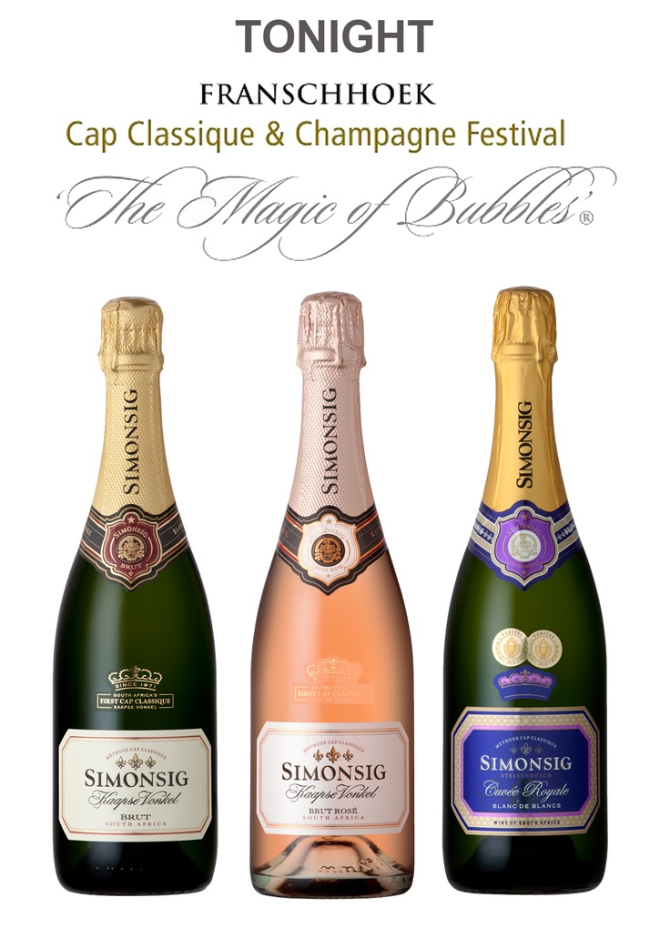 Mission: a Flyer designed to communicate the Franschhoek Bubbly Festival and Simonsig's presence at the event.