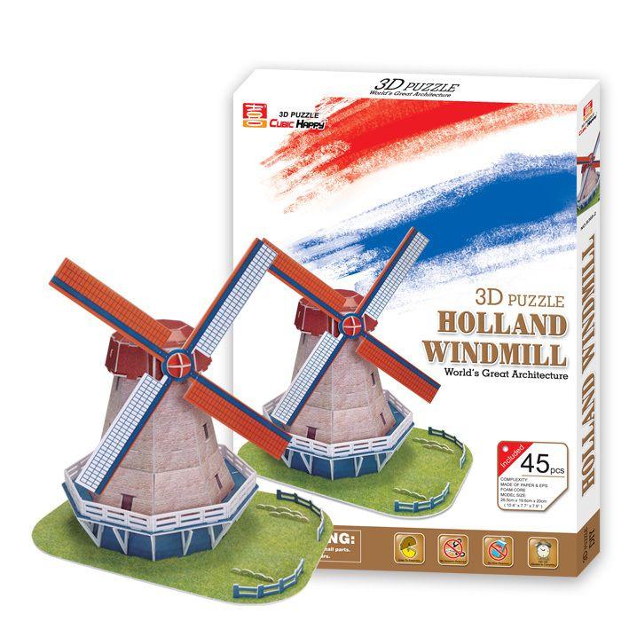 Образовательные игрушки нидерланды ветряная мельница 3d головоломки в сборе бумажная модель знаменитое здание игры творческие дети подарок 1 шт.