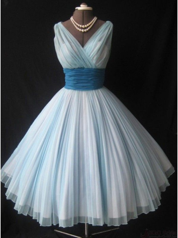 1950s Vintage Short Light Sky Blue Homecoming Dresses #SIMIBridal